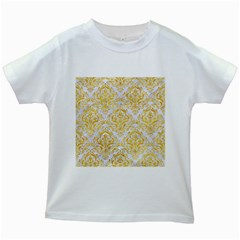 Damask1 White Marble & Yellow Marble (r) Kids White T Shirts
