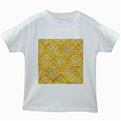 Damask1 White Marble & Yellow Marble Kids White T Shirts