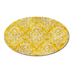 Damask1 White Marble & Yellow Marble Oval Magnet
