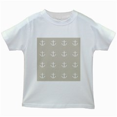 Lt Grey Anchors Kids White T Shirts
