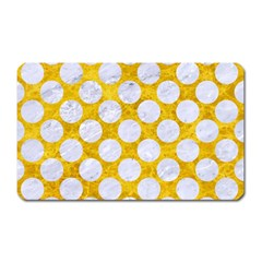 Circles2 White Marble & Yellow Marble Magnet (rectangular)