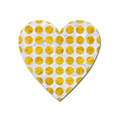 Circles1 White Marble & Yellow Marble (r) Heart Magnet