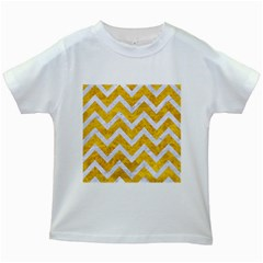 Chevron9 White Marble & Yellow Marble Kids White T Shirts