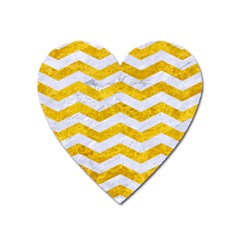 Chevron3 White Marble & Yellow Marble Heart Magnet