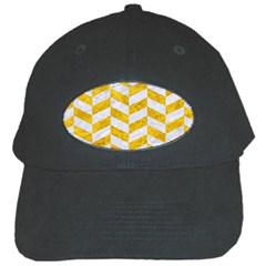 Chevron1 White Marble & Yellow Marble Black Cap