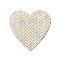 Brick2 White Marble & Yellow Marble (r) Heart Magnet