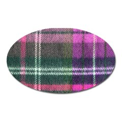 Pink Plaid Flannel Oval Magnet