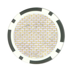 Brick1 White Marble & Yellow Marble (r) Poker Chip Card Guard