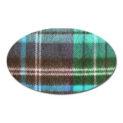 Blue Plaid Flannel Oval Magnet