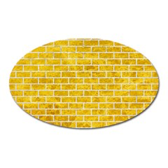 Brick1 White Marble & Yellow Marble Oval Magnet