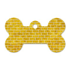 Brick1 White Marble & Yellow Marble Dog Tag Bone (two Sides)