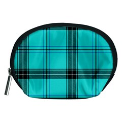 Aqua Plaid Accessory Pouches (medium)
