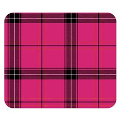 Dark Pink Plaid Double Sided Flano Blanket (small)