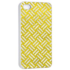 Woven2 White Marble & Yellow Leather Apple Iphone 4/4s Seamless Case (white)