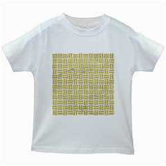 Woven1 White Marble & Yellow Leather (r) Kids White T Shirts