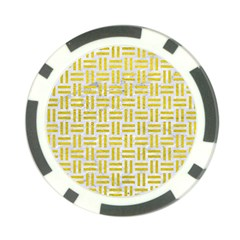 Woven1 White Marble & Yellow Leather (r) Poker Chip Card Guard