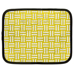 Woven1 White Marble & Yellow Leather Netbook Case (xxl)