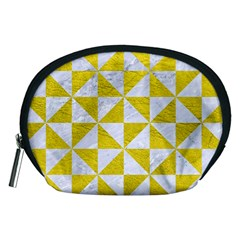 Triangle1 White Marble & Yellow Leather Accessory Pouches (medium)