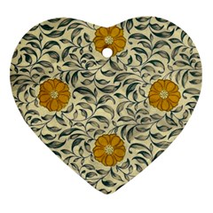 Japanese Floral Orange Heart Ornament (two Sides)