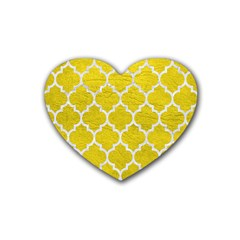 Tile1 White Marble & Yellow Leather Heart Coaster (4 Pack)