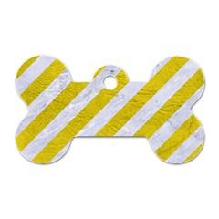 Stripes3 White Marble & Yellow Leather (r)stripes3 White Marble & Yellow Leather (r) Dog Tag Bone (two Sides)