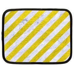 Stripes3 White Marble & Yellow Leather (r)stripes3 White Marble & Yellow Leather (r) Netbook Case (xxl)