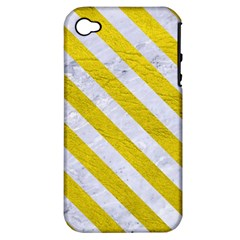 Stripes3 White Marble & Yellow Leather Apple Iphone 4/4s Hardshell Case (pc+silicone)