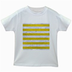 Stripes2white Marble & Yellow Leather Kids White T Shirts