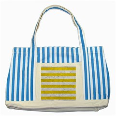 Stripes2white Marble & Yellow Leather Striped Blue Tote Bag