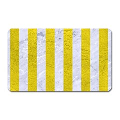 Stripes1 White Marble & Yellow Leather Magnet (rectangular)