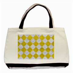 Square2 White Marble & Yellow Leather Basic Tote Bag