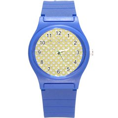 Scales2 White Marble & Yellow Leather (r) Round Plastic Sport Watch (s)