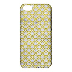 Scales2 White Marble & Yellow Leather (r) Apple Iphone 5c Hardshell Case