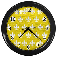 Royal1 White Marble & Yellow Leather (r) Wall Clocks (black)