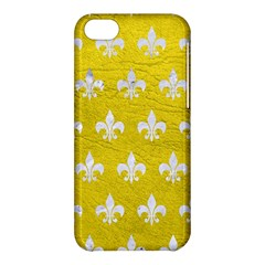 Royal1 White Marble & Yellow Leather (r) Apple Iphone 5c Hardshell Case