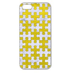 Puzzle1 White Marble & Yellow Leather Apple Seamless Iphone 5 Case (clear)