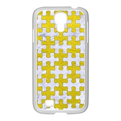 Puzzle1 White Marble & Yellow Leather Samsung Galaxy S4 I9500/ I9505 Case (white)