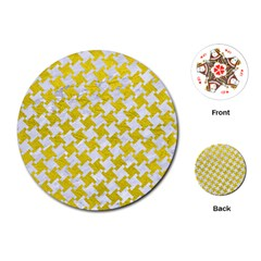 Houndstooth2 White Marble & Yellow Leather Playing Cards (round)
