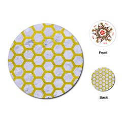 Hexagon2 White Marble & Yellow Leather (r) Playing Cards (round)