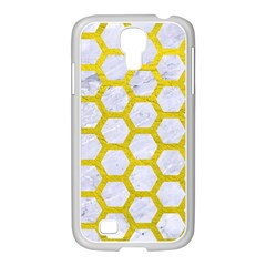 Hexagon2 White Marble & Yellow Leather (r) Samsung Galaxy S4 I9500/ I9505 Case (white)