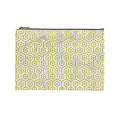 Hexagon1 White Marble & Yellow Leather (r) Cosmetic Bag (large)