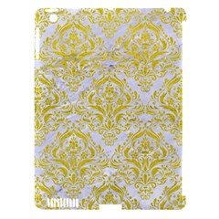 Damask1 White Marble & Yellow Leather (r) Apple Ipad 3/4 Hardshell Case (compatible With Smart Cover)