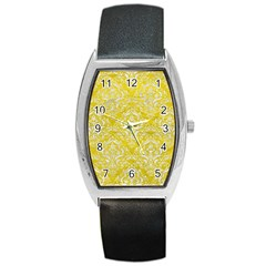 Damask1 White Marble & Yellow Leather Barrel Style Metal Watch