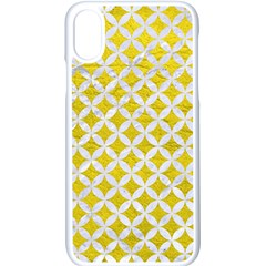 Circles3 White Marble & Yellow Leather Apple Iphone X Seamless Case (white)