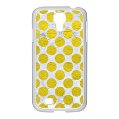 Circles2 White Marble & Yellow Leather (r) Samsung Galaxy S4 I9500/ I9505 Case (white)