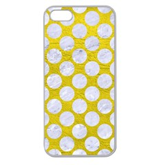 Circles2 White Marble & Yellow Leather Apple Seamless Iphone 5 Case (clear)
