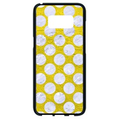Circles2 White Marble & Yellow Leather Samsung Galaxy S8 Black Seamless Case