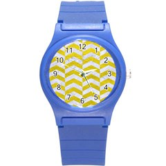 Chevron2 White Marble & Yellow Leatherchevron2 White Marble & Yellow Leather Round Plastic Sport Watch (s)
