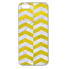 Chevron2 White Marble & Yellow Leatherchevron2 White Marble & Yellow Leather Apple Seamless Iphone 5 Case (clear)