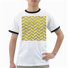 Chevron1 White Marble & Yellow Leather Ringer T Shirts